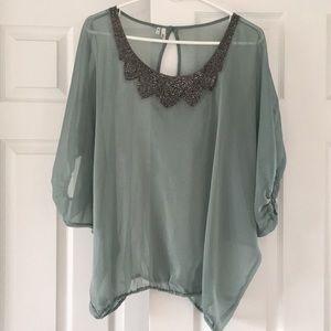 Light blue/turquoise sheer dress shirt